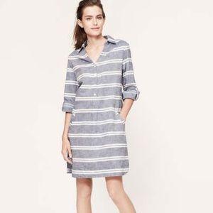 NWT loft chambray striped shirt dress size 14